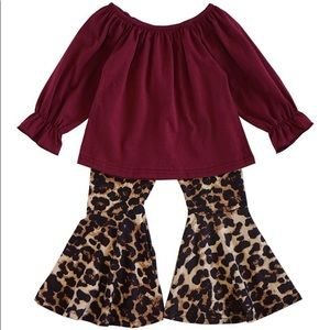 Leopard print pants with maroon top kids size 7